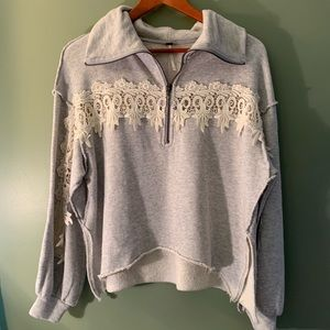 Free People lace detailed sweatshirt